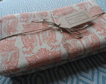 2 half metre pieces of Linwood Block Printed Linen Fabric