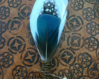 FREE SHIPPING- Indian Relic Feather Grooms Boutonniere