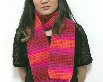 Chunky Bright Pink, Orange and Maroon Crocheted Scarf