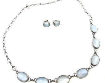 "Vintage Sterling Moonglow Blue Lucite 17"" Necklace & Pierced Earrings in Box"