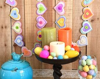 Felt Heart Garland, Pastel Hearts, Easter, Baby Shower, Party Garland, Nursery, Gender Reveal, Celebration Party