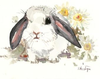 Children Artwork Bunny adn Flowers, original watercolor painting, 9 X 12, cute animal art, bunny illustration