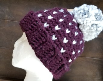 Little Hearts PomPom Beanie, Crocheted with acrylic/wool blend yarn, Large adult, Eggplant,Plum, Purple with Marble white accent