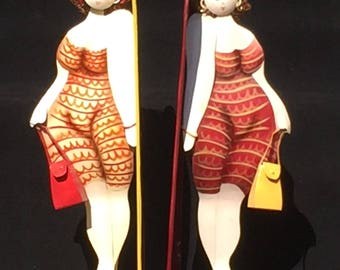Full Figure Sassy Lady Bookends, made in the Phillipines