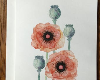 Peach Poppies Card