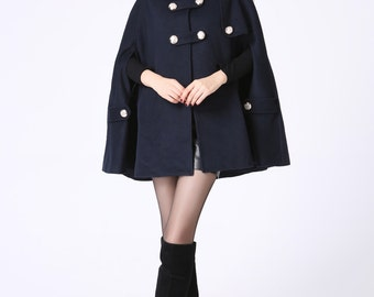 Cape coat, Navy cape, hooded cape, wool cape, double breasted coat, womens cape, winter cape, plus size cape, blue cape, short cape 1057