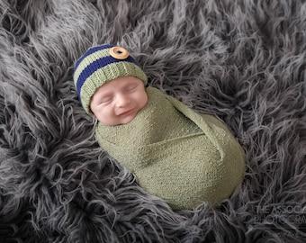 Newborn Photo Prop/ Baby Boy Hat Blue/ Newborn Boy Hat/ Baby Beanie Hat/ Newborn Props/ Newborn Boy/ Newborn Boy Prop/ Knit Newborn Hat
