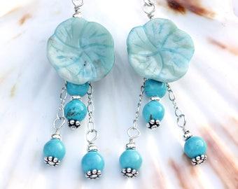 Turquoise Flower Earrings. December Birthstone. Floral Earrings For Women. 11th Wedding Anniversary Jewellery Gift. Turquoise Jasper. A0453