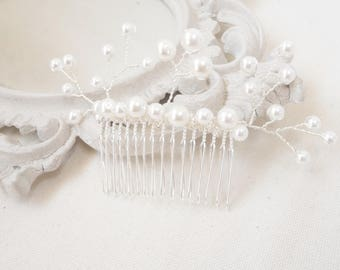 "Romantic bridal hair jewelry comb beads customizable wedding hair comb accessories, Pearl wedding ""Madeline"""