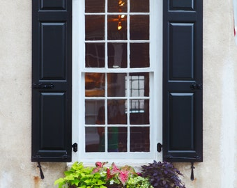 Charleston Print, Colorful Art, Rainbow Row Prints, Charleston SC art, white decor, travel Photography, Window Pane Art, wall art, french