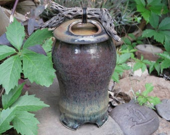 Urn- Memorial/Cremation Vessel- Cholla Wood Top