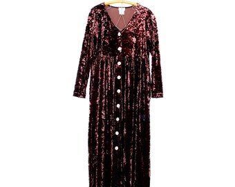 vintage velvet dress / crushed velvet maxi dress / vintage maxi dress medium