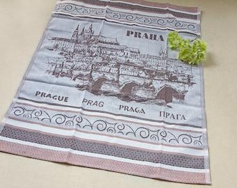 Luxurious Jacquard Woven Prague Praha Kitchen Dish Tea Towel Cotton Made in Europe Brown