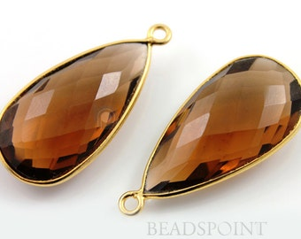 Natural Whisky Topaz, Bezel Pear Shape Chalcedony Component, 24K Gold Vermeil Over Sterling Silver,  15x30mm 1 Piece, (BZC7068)