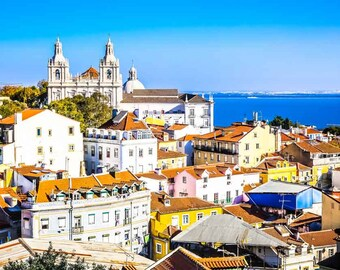 Lisbon Photography, Portugal Photography, Rooftops, City View, Large Wall Art, Living Room Art