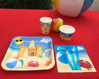 Beach themed tableware set / Beachball party decorations  / Beach party decorations