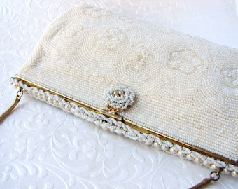 Silk White Vintage Micro Beaded Purse Wedding Handbag Flower Design Chain Strap Formal Evening Bag Cocktail Party Clutch Hand Made In France