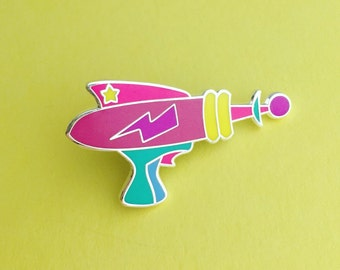 Rainbow Laser Gun Enamel Pin Badge - Retro Ray Gun Lapel Pin