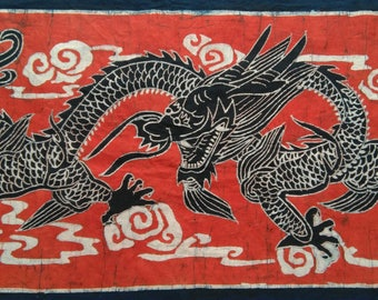 Chinese Dragon/Loong - Chinese Ethnic Batik Painting Banner Tapestry Wall Decor Blue Red