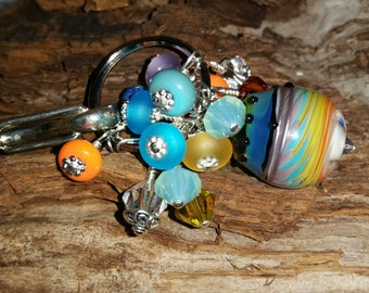 Flower Fields Lampwork & Sterling Purse Fob