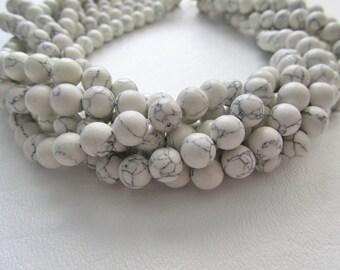 White Howlite Smooth Polished Round Beads 8mm Full Strand