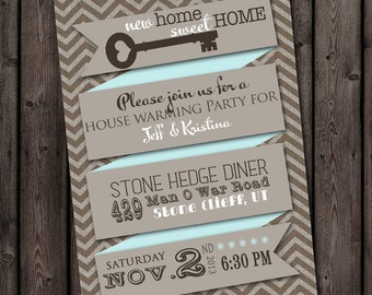 house warming invitation, mint, chevron customized, new home announcement, house warming open house, any occasion party, invitations