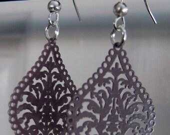 Silver plated brown filigree drop earrings