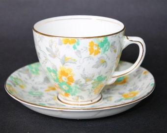 SAMPSON SMITH Old Royal Bone China Teacup and Saucer Set