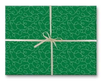 Green Squiggles Holiday Gift Wrap - Wrapping Paper Sheet