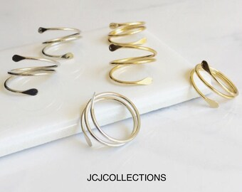 Silver Geometry Ring, Gold Geometry Ring, Wraparound Ring
