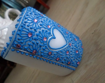 Unscented hand decorated white pillar candle