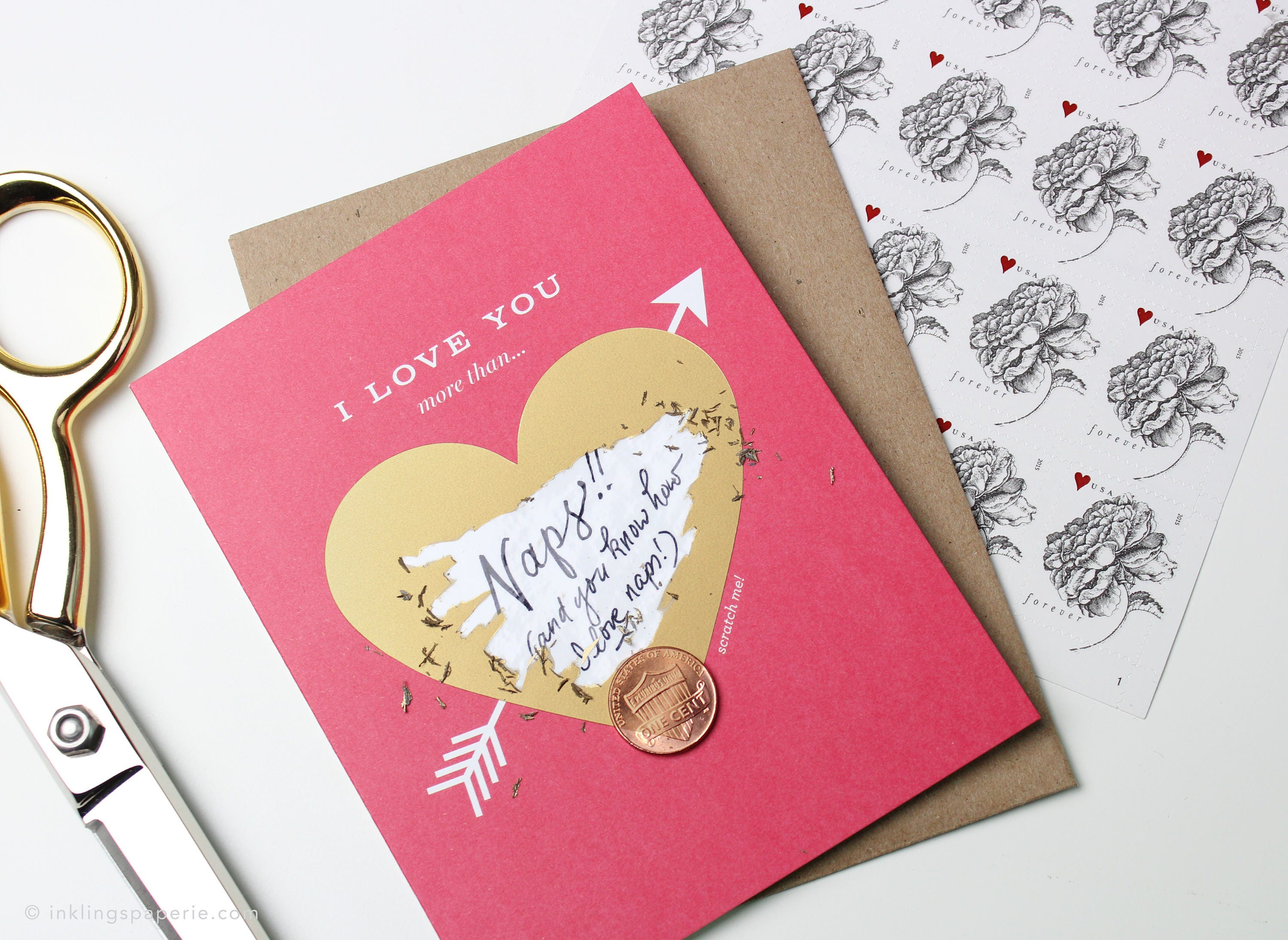 Scratch-off Love Card // Write your own message I love you