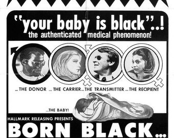 SPRING SALE: BORN Black Movie Poster Exploitation Grindhouse Classic