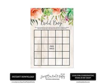 Boho Succulent Bridal Bingo Printable Game Instant Download Southwestern Rustic Floral Wedding Shower Games