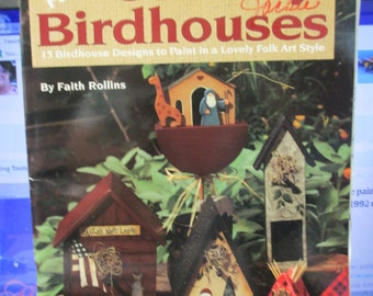 """K Vintage Folk Art Tole painting """" Faith's Country Birdhouses"""" 1995 used booklet 36 pages"""
