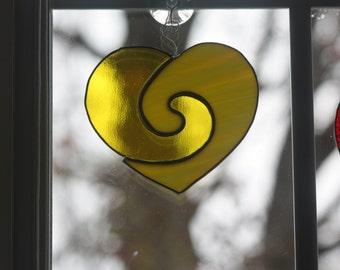 Stained glass suncatcher, Heart Suncatcher, Yellow heart