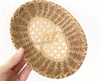 Vintage Pine Needle Heart Basket / Boho Decor