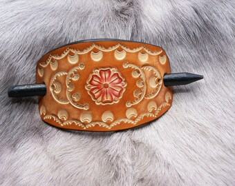 Designer hair clip in cognac brown leather, flower, medium to large