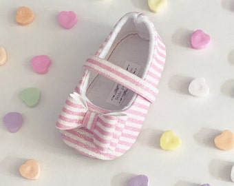 Toddler Girl Shoes Baby Girl Shoes Soft Soled Shoes Wedding Shoes Flower Girl Shoes spring Pink and White Stripe Glitter shoes - Kandi