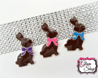 """Easter Bunny Pendant 2"""" Tall - PICK ONE - Chocolate Bunny Enamel Pendant - Chunky Pendant Easter - Bunny Pendant for Easter Necklace"""