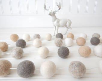 Garland, Neutral Felt Ball Garland, Pom Pom Garland, Mantel Decor, Mantel Garland, Shabby Chic, Nursery Decor, Flax Linen Cream, White Ivory