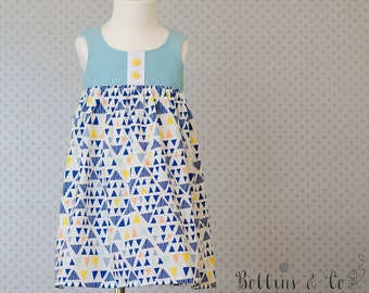 Funky Teal and Blue Girls Dress || Toddler Dress || Party Dress || Girls clothing || Summer Dress || SIZE 0
