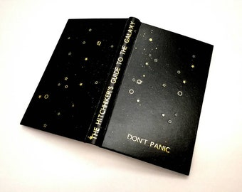 The Hitchhikers Guide to the Galaxy - Douglas Adams - Leather Book, Gold details handtooled