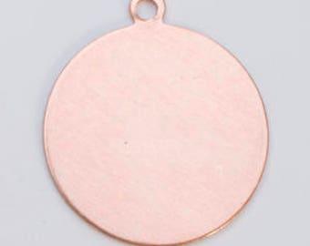 "FIFTEEN  1""  Copper CIRCLES w/ring 24 gauge 15 pcs"