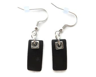 Black Beach Glass Earrings, Black Sea Glass Earrings, Black Dangle Earrings, Recycled Glass Earring, Simple Black Earring, Beach Jewelry