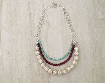 white howlite, turquoise howlite, agate beads, metal chain toggle clasp necklace