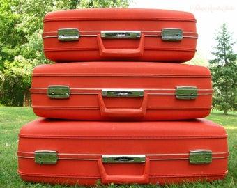Vintage Oshkosh Luggage Set | Orange Suitcases  | Mid Century Modern | Bohemian Boho | Hard Shell Suit Case | 3 Piece Set | With Keys