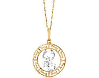14k Gold Zodiac Scorpio Necklace, Gold Scorpio Sign Pendant, Zodiac Necklace, Gift For Her, Gold Round Scorpio Zodiac Necklace