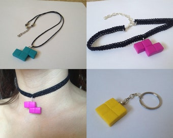 Tetris Puzzle Game Pieces - Necklaces, Keychains, Chokers, etc - SELECT STYLE