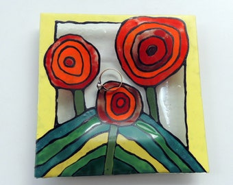 Fused glass plate, painted fused plate,red flowers ring plate,Hundertwasser art on glass,wedding/Christmas gift